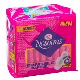 Toalla higiénica paquete por 10 unidades.