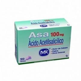 Asa caja por 100 unidades, 100 mg.