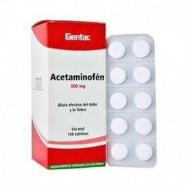 Acetaminofén, caja por 100 unidades (500 mg).
