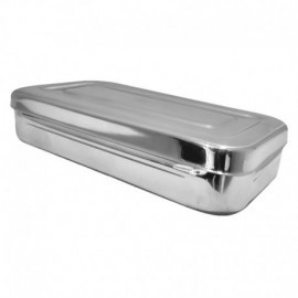 Cubeta acero inoxidable con tapa, 26 cm x 15 cm x 5 cm.