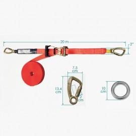 Línea de vida horizontal portátil x 20 metros en cinta de poliéster Orbit
