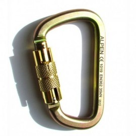 Mosquetón en acero de 35 kn, seguro automático, tipo D asimétrico Alpen.