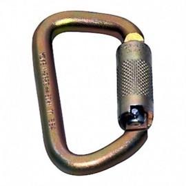 Mosquetón en acero de 50 kn, triple seguro, tipo D asimétrico Yoke.