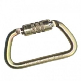 Mosquetón en acero de 65 kn, seguro automático, tipo d asimétrico Rigger.