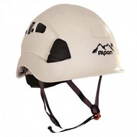 Casco ventilado incluye barbuquejo y sujetador para linterna, Alpen.