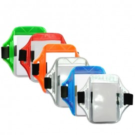 Brazalete porta carnet reflectivo – vertical, Health Solutions.
