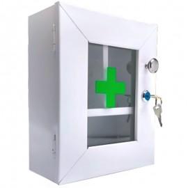 Botiquín gabinete metálico primeros auxilios, sin dotación con puerta de vidrio, alto 22 cms, Health Solutions.