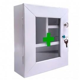 Botiquín gabinete metálico primeros auxilios, sin dotación con puerta de vidrio, alto 32 cms Health Solutions.