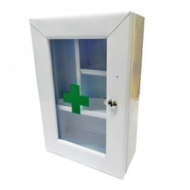 Botiquín gabinete metálico primeros auxilios, sin dotación, puerta de vidrio, alto 39 cms, Health Solutions.