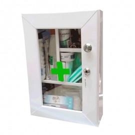 Botiquín gabinete metálico primeros auxilios, incluye dotación completa con puerta de vidrio, Health Solutions.