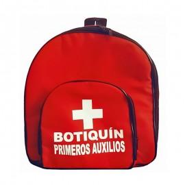Botiquín tipo morral mediano de primeros auxilios, incluye dotación. Health solutions.
