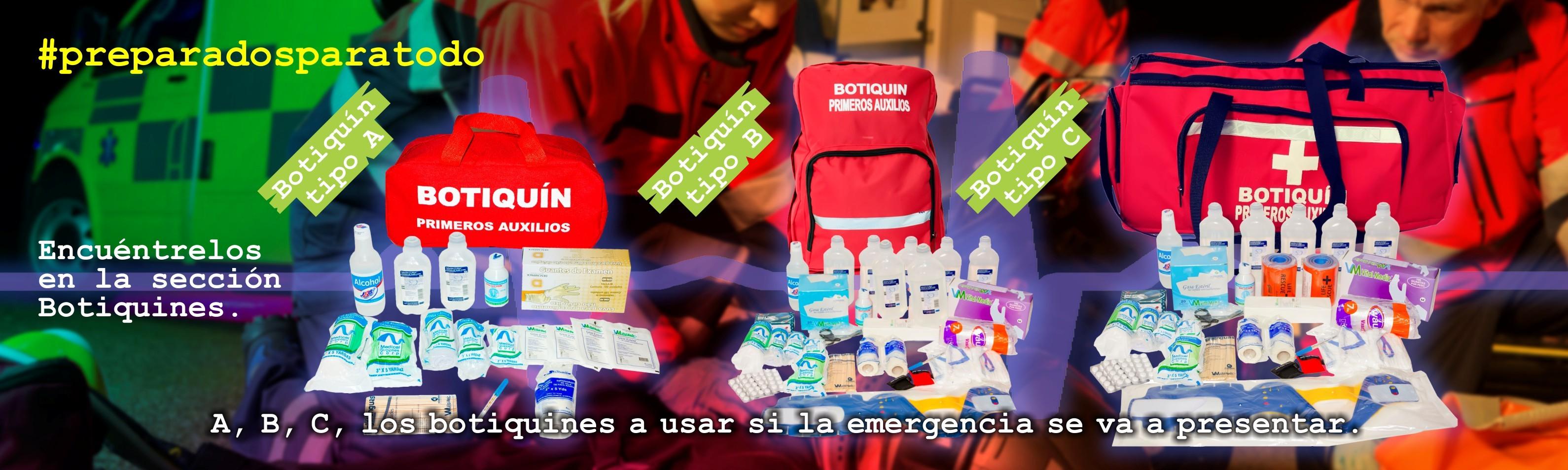 Botiquines tipo A, B y C para brigadas de emergencia.